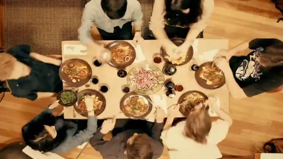 Overhead view of people dining at a table