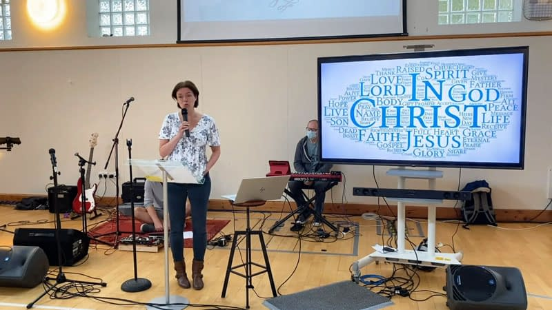 Anne Dannerolle leads for the service church service since the lockdown