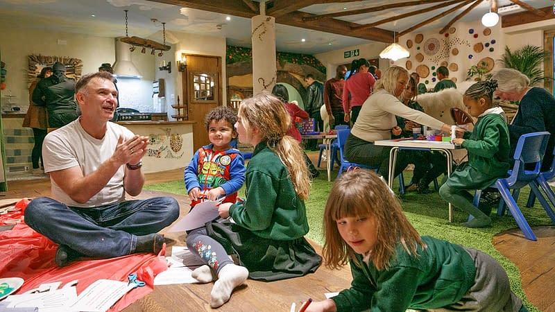 Families enjoying activities in WOW