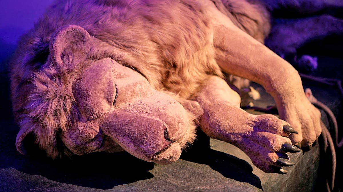 Aslan lies on the stone