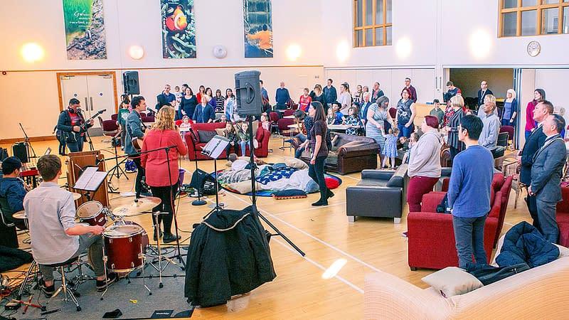 Sunday morning worship led by the music group